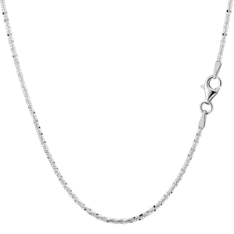 Sterling Silver Rhodium Plated Sparkle Chain Necklace, 2.2mm
