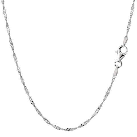 Sterling Silver Rhodium Plated Singapore Chain Necklace, 1.6mm - JewelryAffairs  - 1