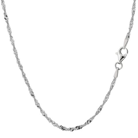 Sterling Silver Rhodium Plated Singapore Chain Necklace, 2.0mm - JewelryAffairs  - 1