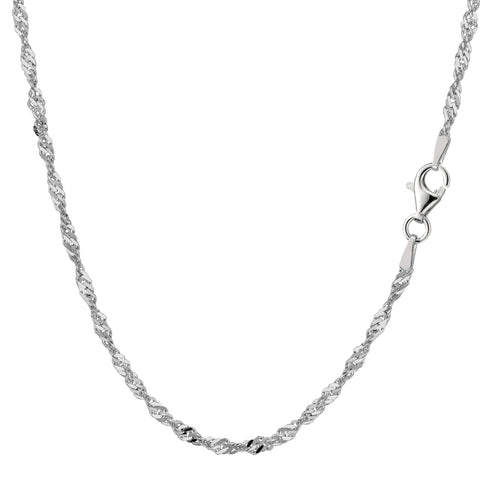 Sterling Silver Rhodium Plated Singapore Chain Necklace, 2.8mm - JewelryAffairs  - 1