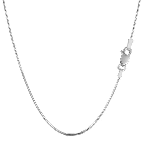 Sterling Silver Rhodium Plated Round Snake Chain Necklace, 0.9mm - JewelryAffairs  - 1
