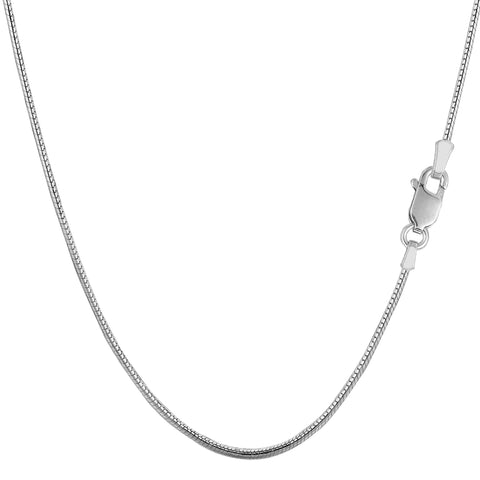 Sterling Silver Rhodium Plated Round Snake Chain Necklace, 1,2mm - JewelryAffairs  - 1
