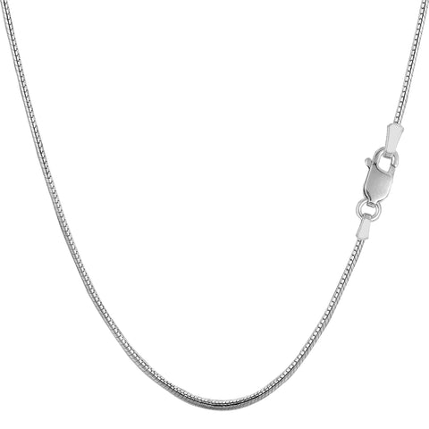 Sterling Silver Rhodium Plated Round Snake Chain Necklace, 1.4mm - JewelryAffairs  - 1