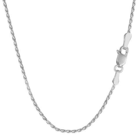 Sterling Silver Rhodium Plated Spiga Chain Necklace, 1.3mm