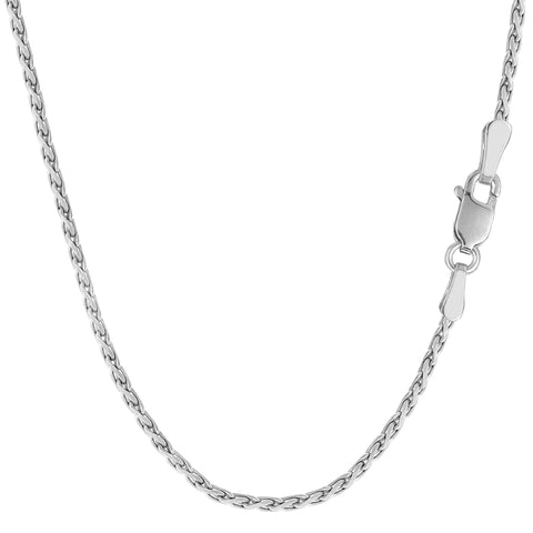 Sterling Silver Rhodium Plated Spiga Chain Necklace, 1,5mm - JewelryAffairs  - 1