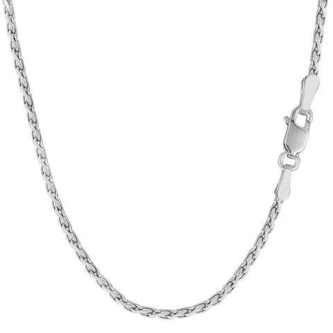 Sterling Silver Rhodium Plated Spiga Chain Necklace, 2.2mm