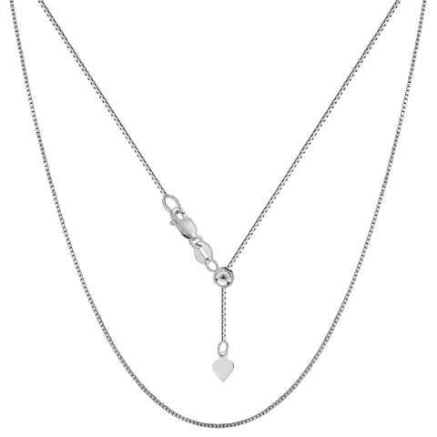 "Sterling Silver Rhodium Plated Adjustable Box Chain Necklace, 0.7mm, 22"" - JewelryAffairs  - 1"
