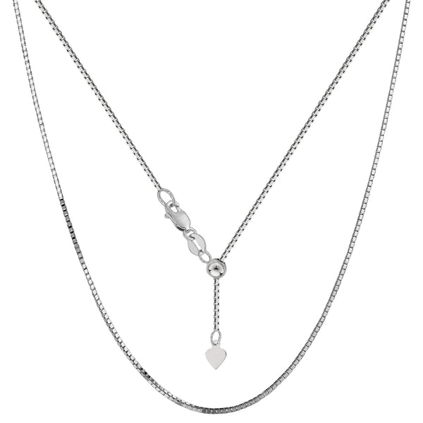 Sterling Silver Rhodium Plated Adjustable Box Chain Necklace, 0.8mm, 22""
