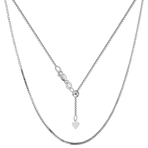 "Sterling Silver Rhodium Plated Adjustable Box Chain Necklace, 0.8mm, 22"" - JewelryAffairs  - 1"
