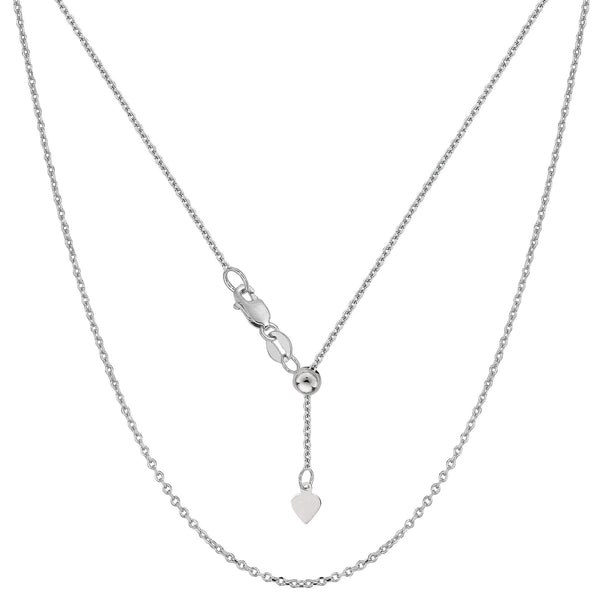 Sterling Silver Rhodium Plated Adjustable Cable Chain - Width 0.9mm - JewelryAffairs  - 1