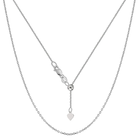 "Sterling Silver Rhodium Plated Adjustable Cable Chain Necklace, 0.9mm, 22"" - JewelryAffairs  - 1"