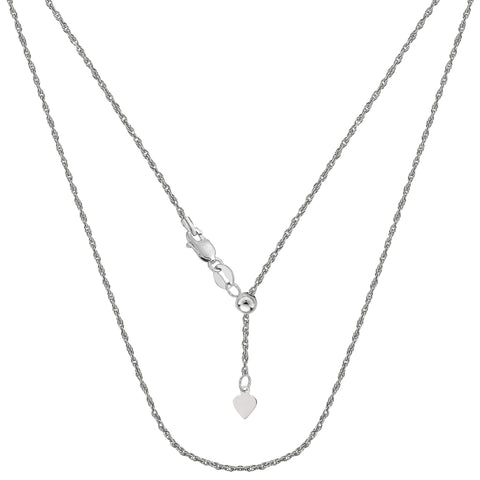 "Sterling Silver Rhodium Plated Adjustable Rope Chain Necklace, 1.0mm, 22"" - JewelryAffairs  - 1"