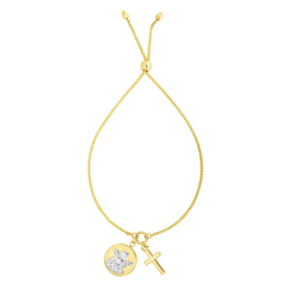 14k Yellow And White Gold Cross And Angel Adjustable Bracelet, 9.25""