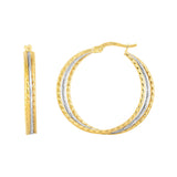 14K Gold Yellow And White Finish Hoop Earrings, Diameter 30mm