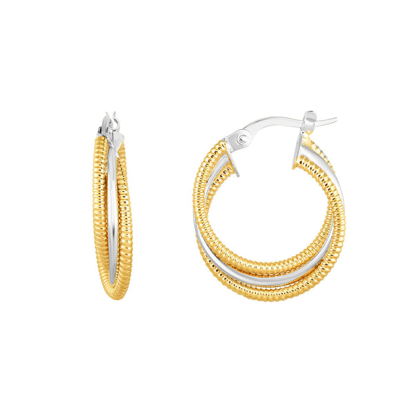 14K Gold Yellow And White Finish Hoop Fancy Earrings, Diameter 15mm