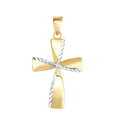 14K Yellow And White Gold Diamond Cut Fancy Cross Pendant,13x20 mm