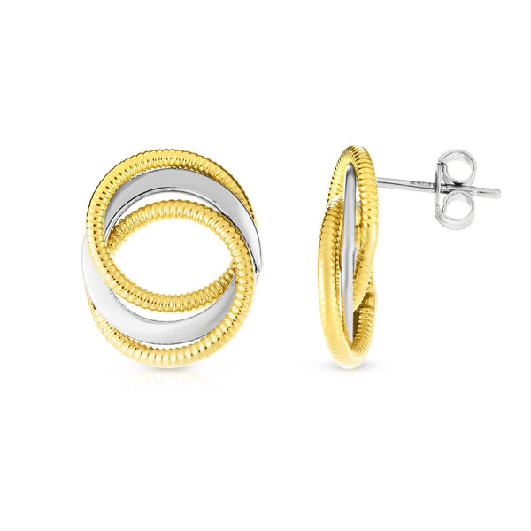14k Yellow And White Gold Round Interconnected Link Stud Earrings
