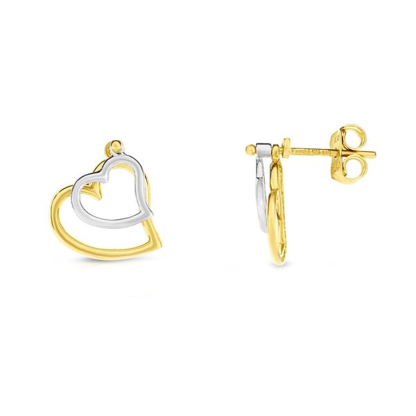 14k Yellow And White Gold Double Heart Stud Earrings