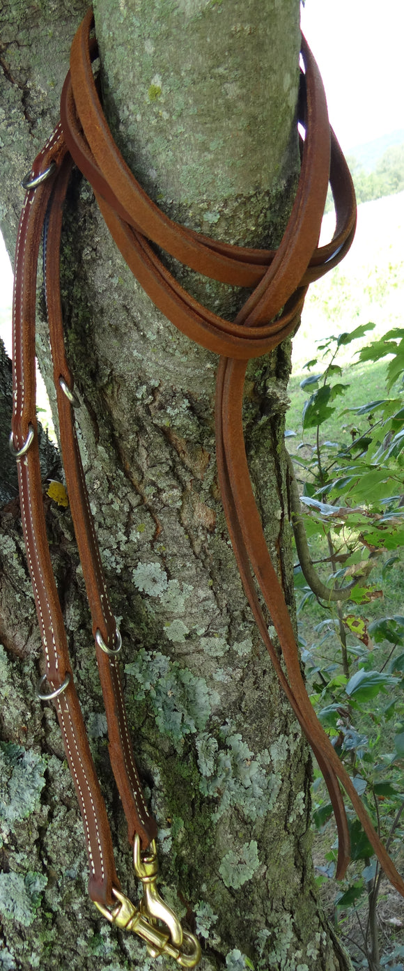 Laced End D-Ring Leather Split Reins
