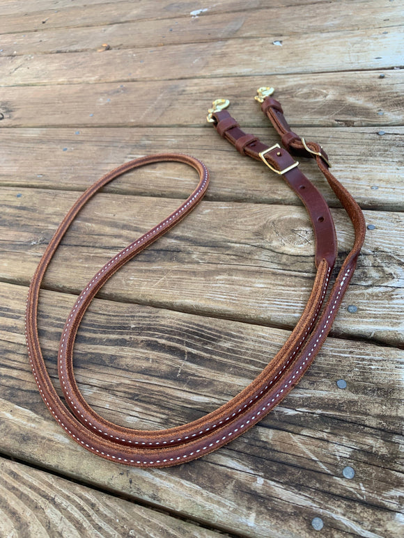 Rolled Leather Barrel Reins