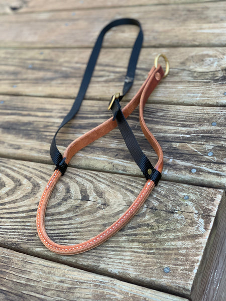 Rolled Leather Noseband with Nylon