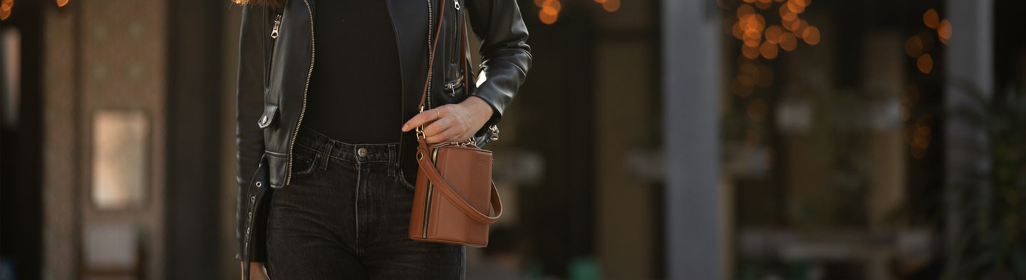 Brown leather bucket bag | SUSU Handbags