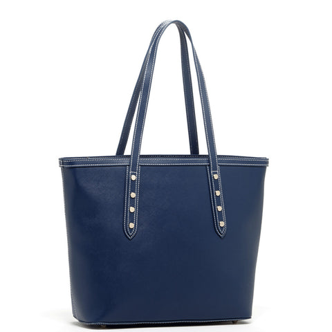 Ludlow Saffiano Leather Tote Blue