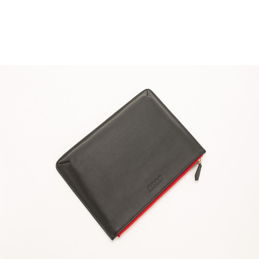 Black Leather iPad Clutch