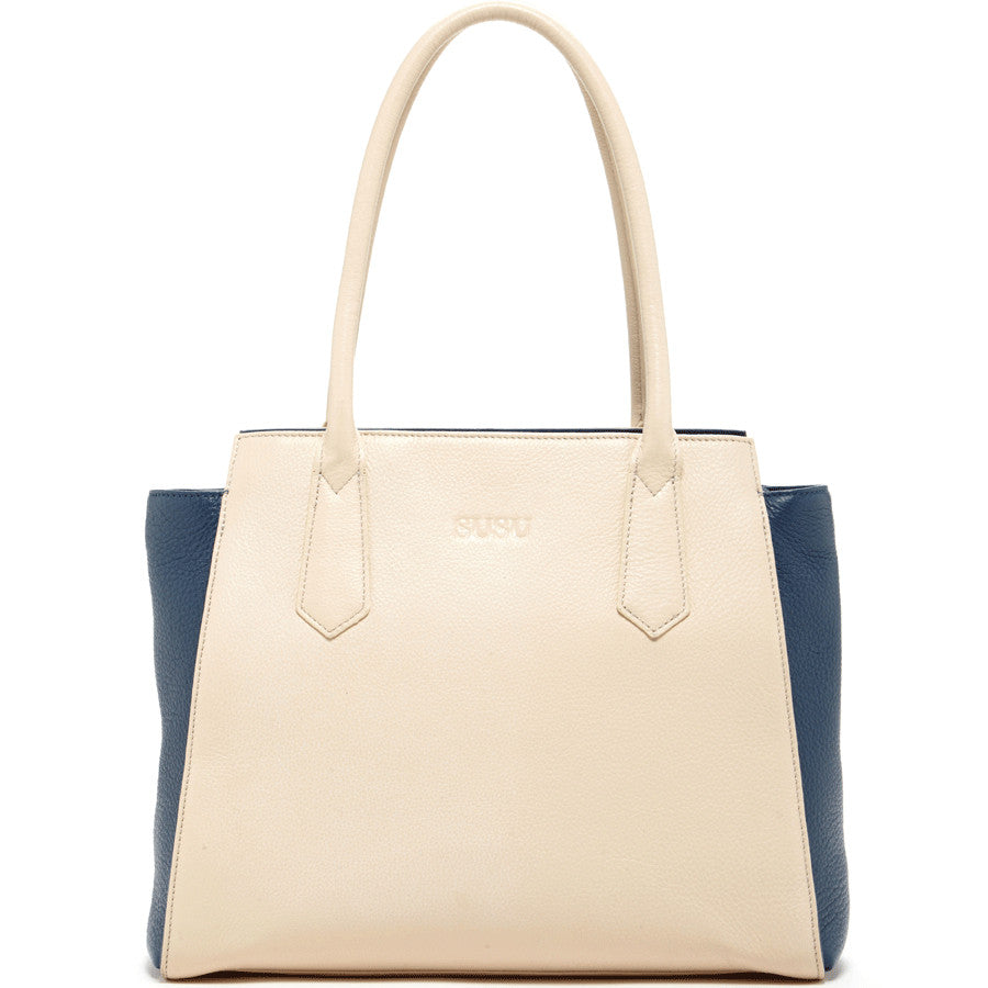 Ivory leather tote l SUSU Handbags