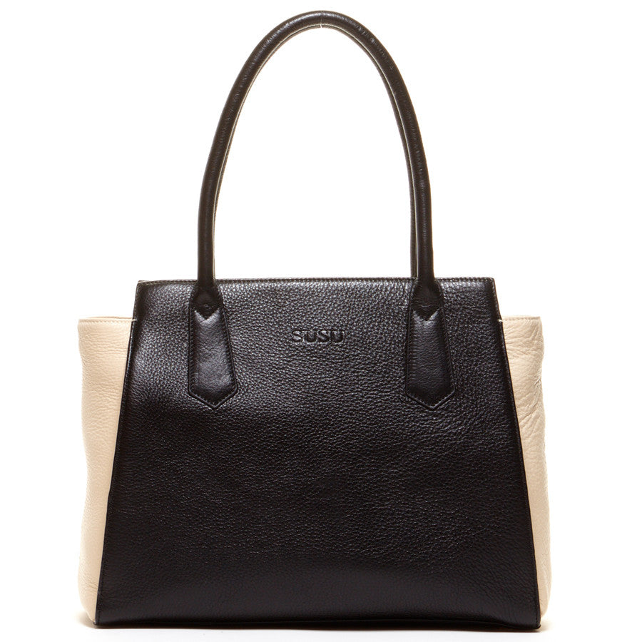 Black leather tote l SUSU Handbags