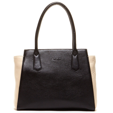 Jody – Two Tone Tote Black and Ivory Leather Shoulder Bag