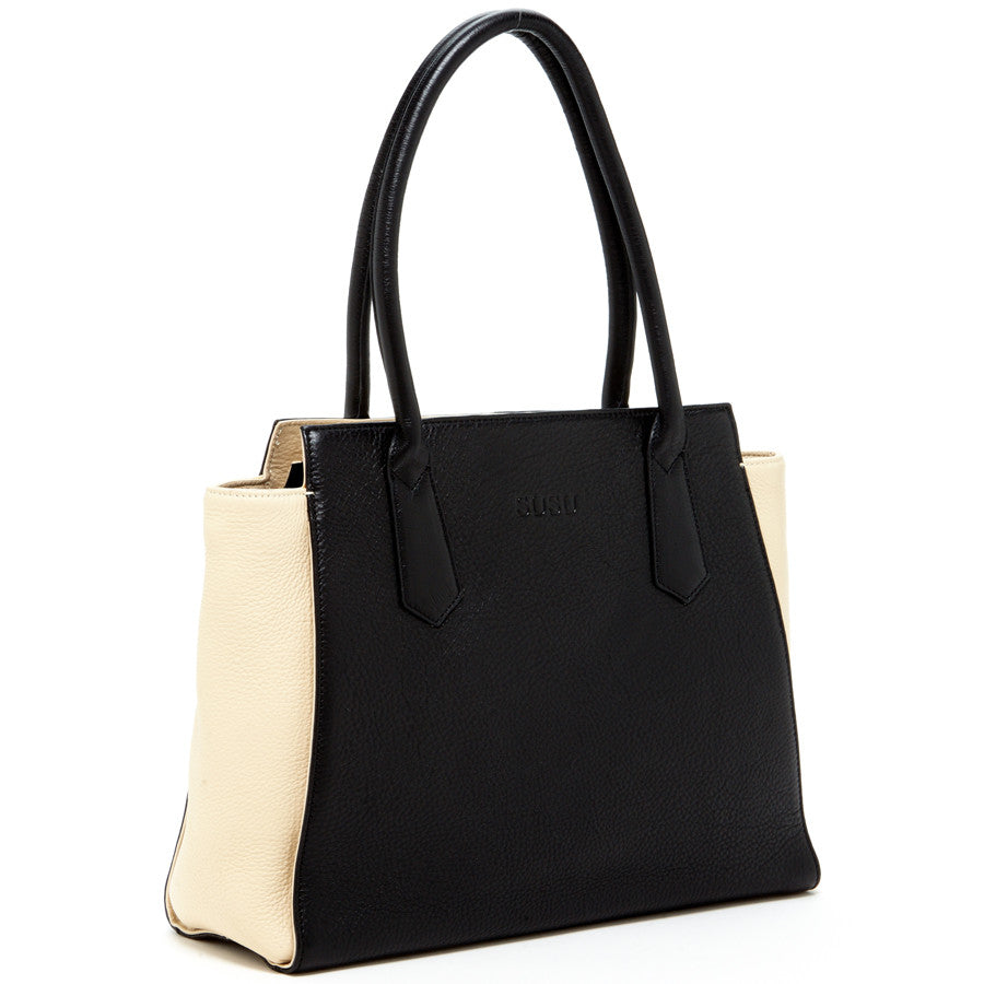 Black leather handbag l SUSU Handbags