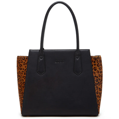 Jody Two Tone Black and Leopard Print Leather Tote