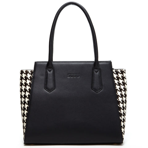 Jody Two Tone Black Leather Animal Print Tote