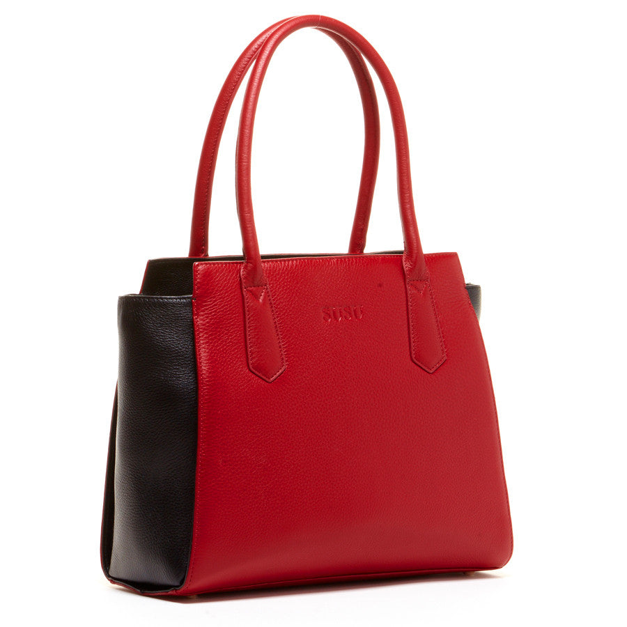 Red leather shoulder bag l SUSU Handbags