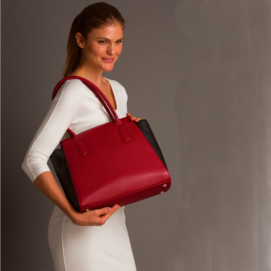 Red leather work tote l SUSU Handbags