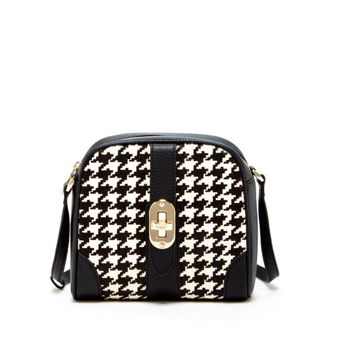 Baxter - Small Black Houndstooth Leather Crossbody Bag