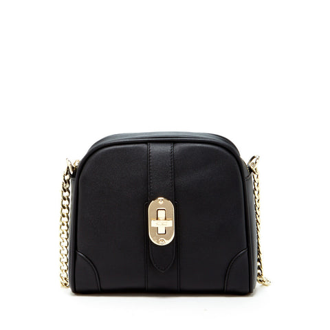 Baxter -  Small Black Leather Crossbody Bag With Chain Strap