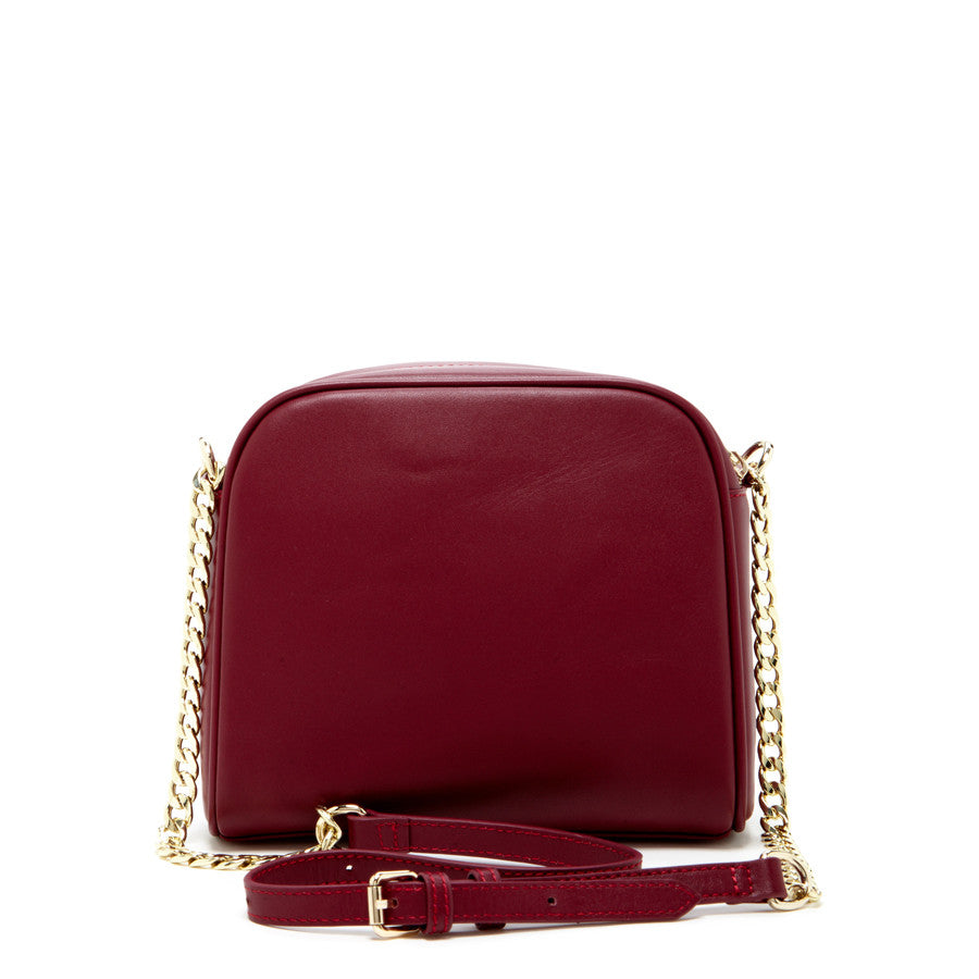 Burgundy Leather Chain Purse