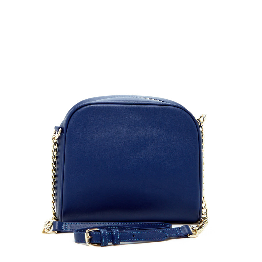 Blue Leather Chain Purse