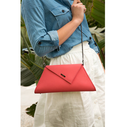 Angelica Leather Clutch Coral