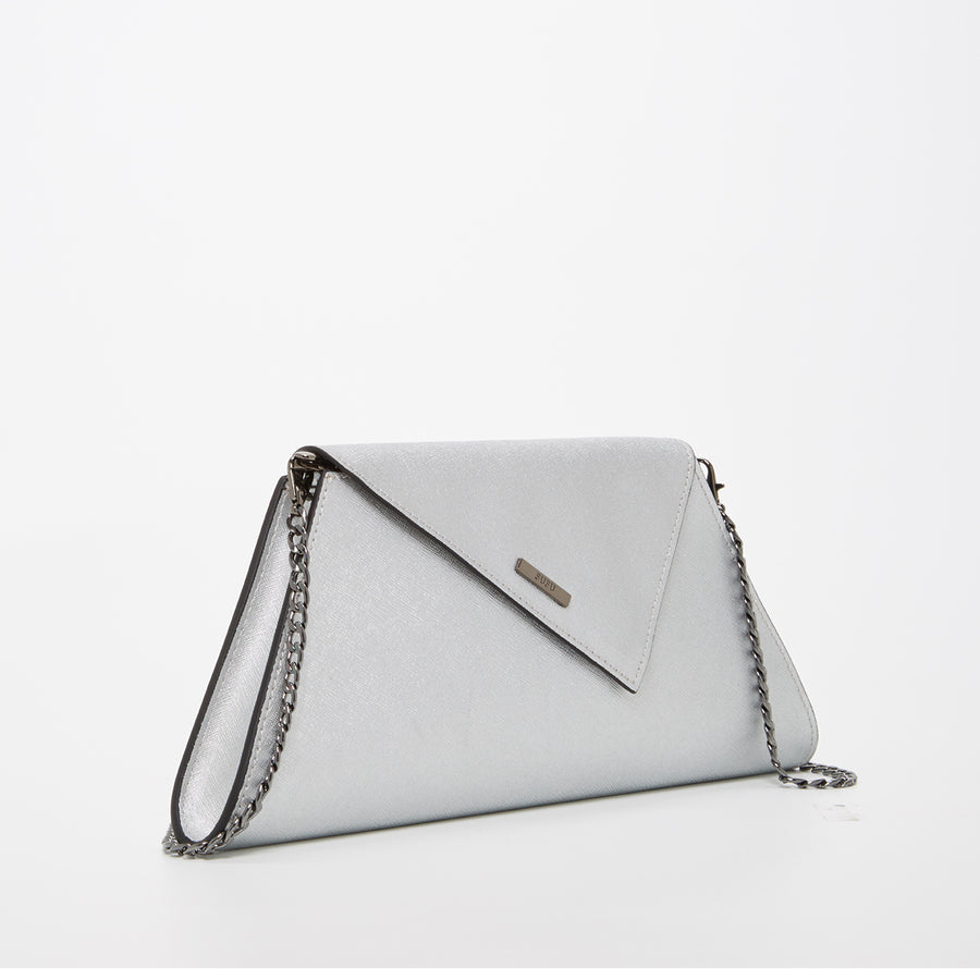 Silver Leather Evening Bag