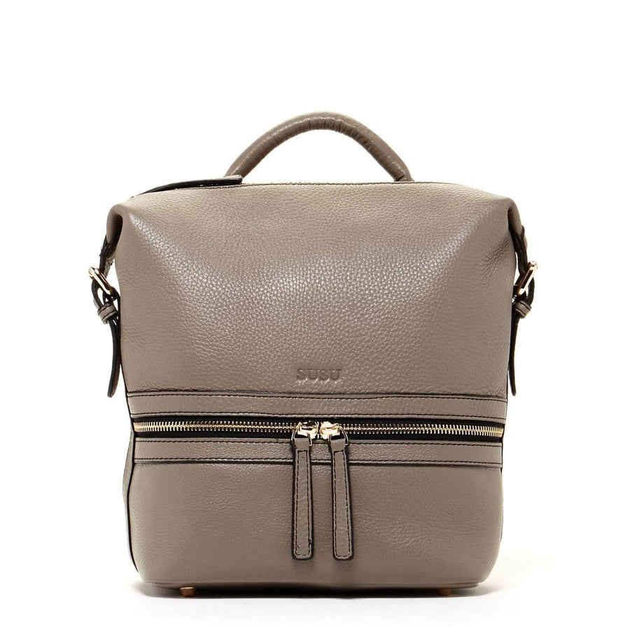 Elephant Gray Leather Backpack