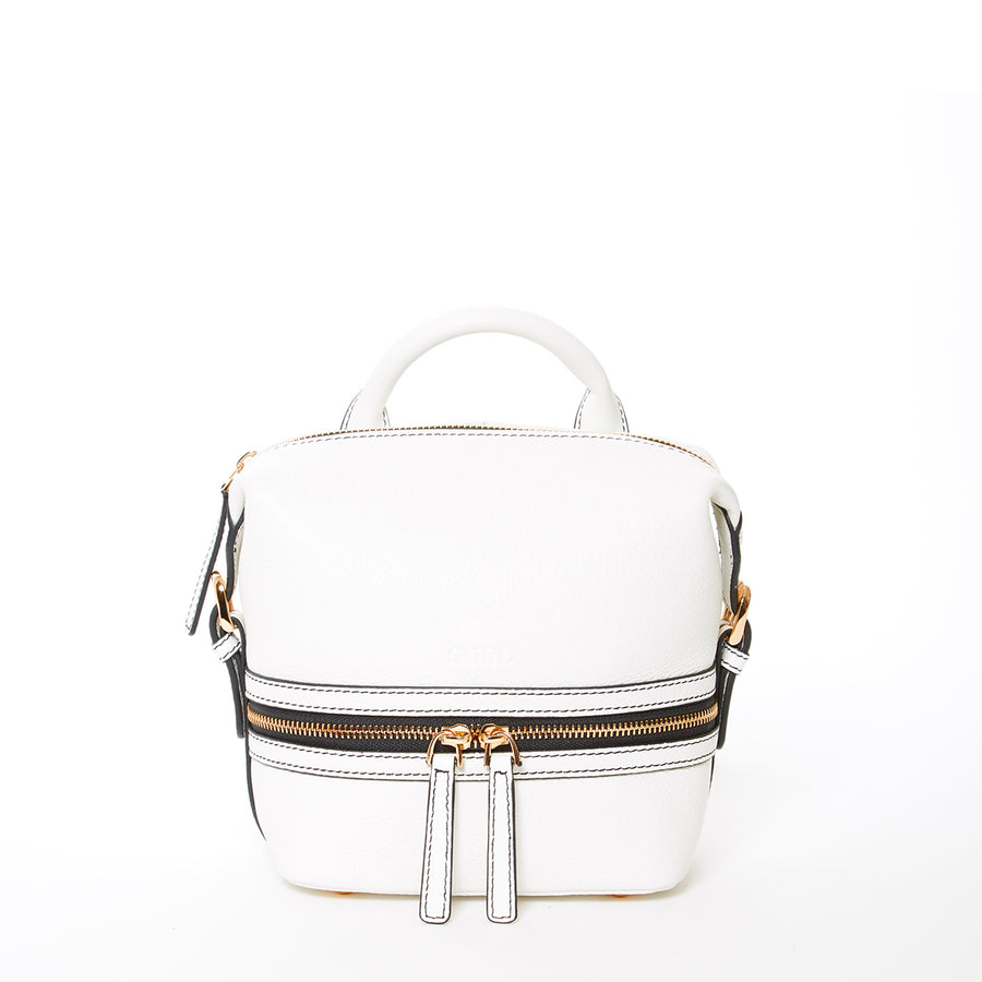White Leather Fashion Backpack