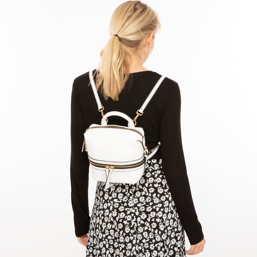 Convertible White Leather Backpack