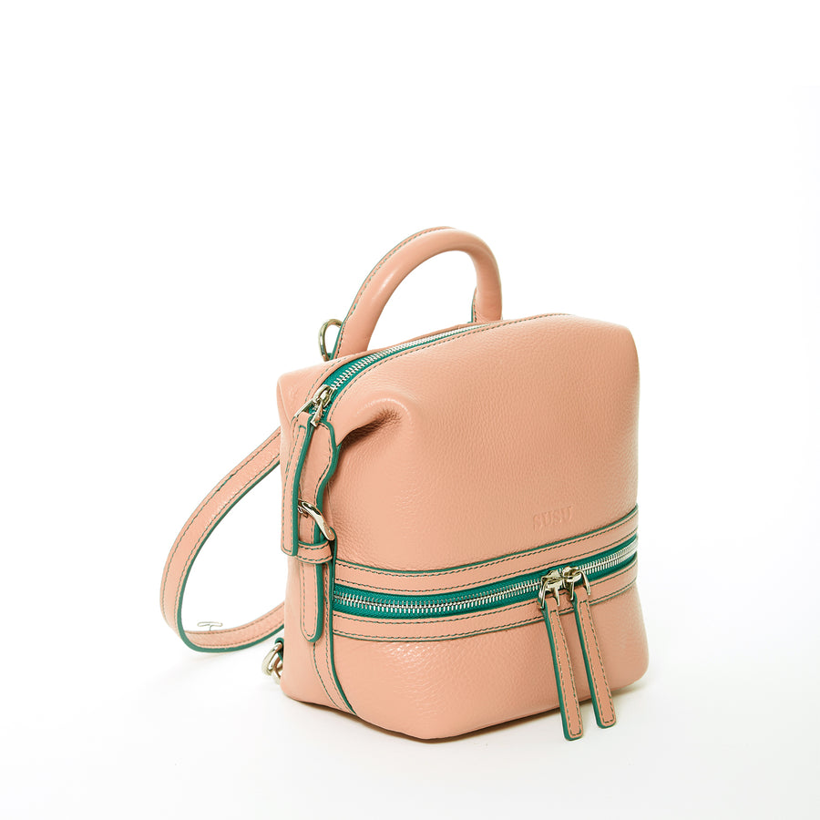 Pink small Leather Backpack | SUSU Handbags