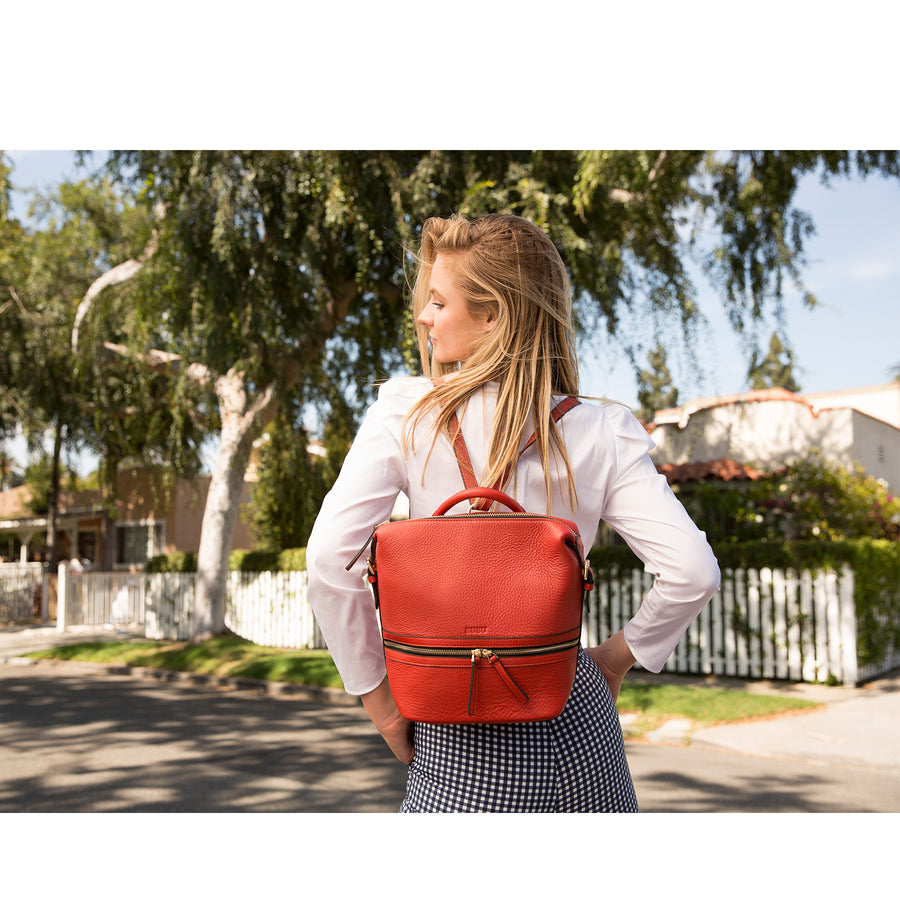 womens red leather backpack | SUSU Handbags