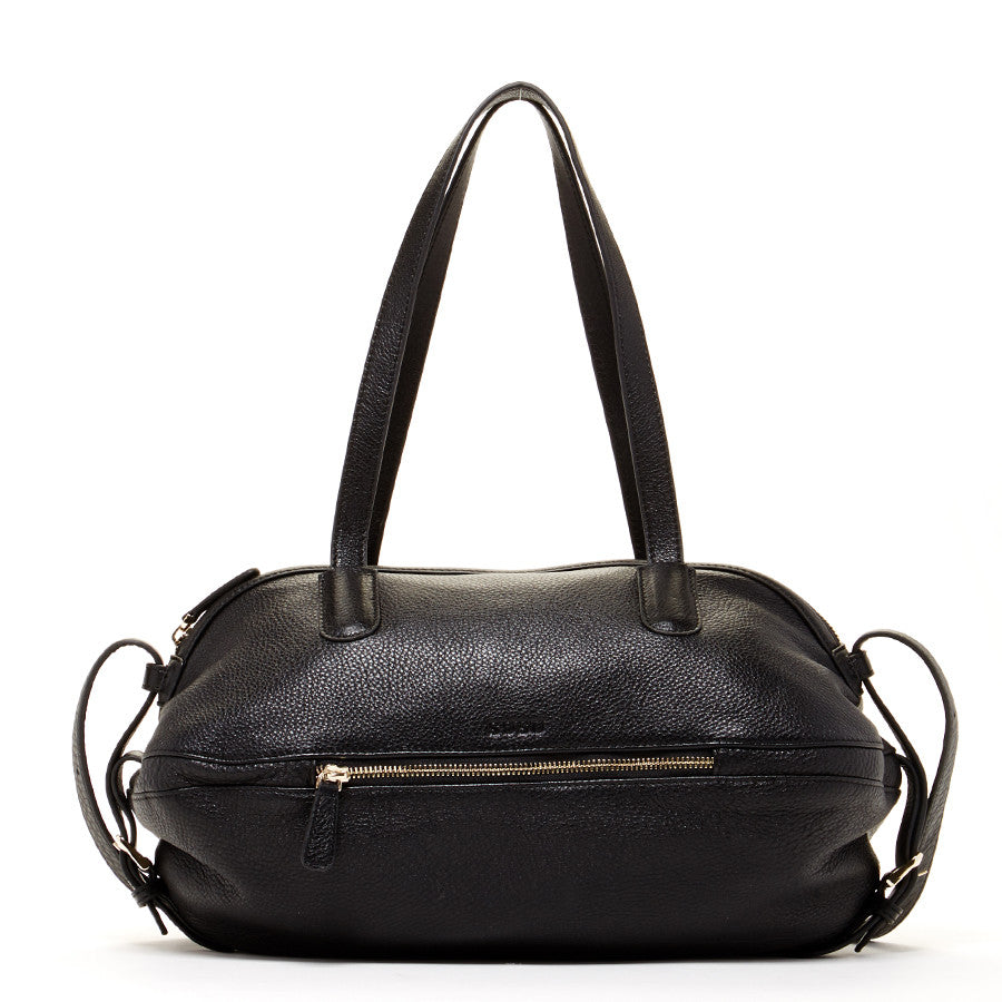 Black Leather Crossbody Satchel
