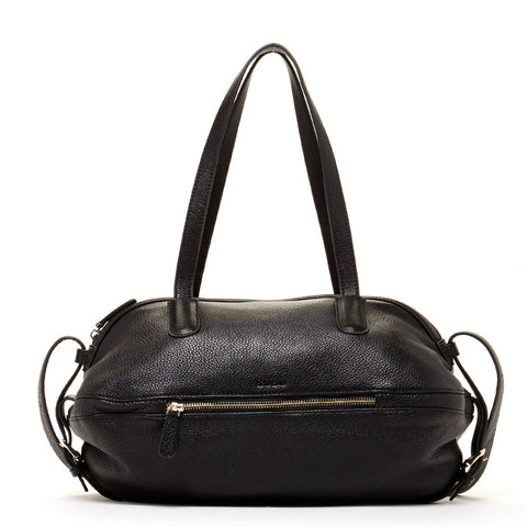 Catherine Leather Satchel Black Shoulder Bag