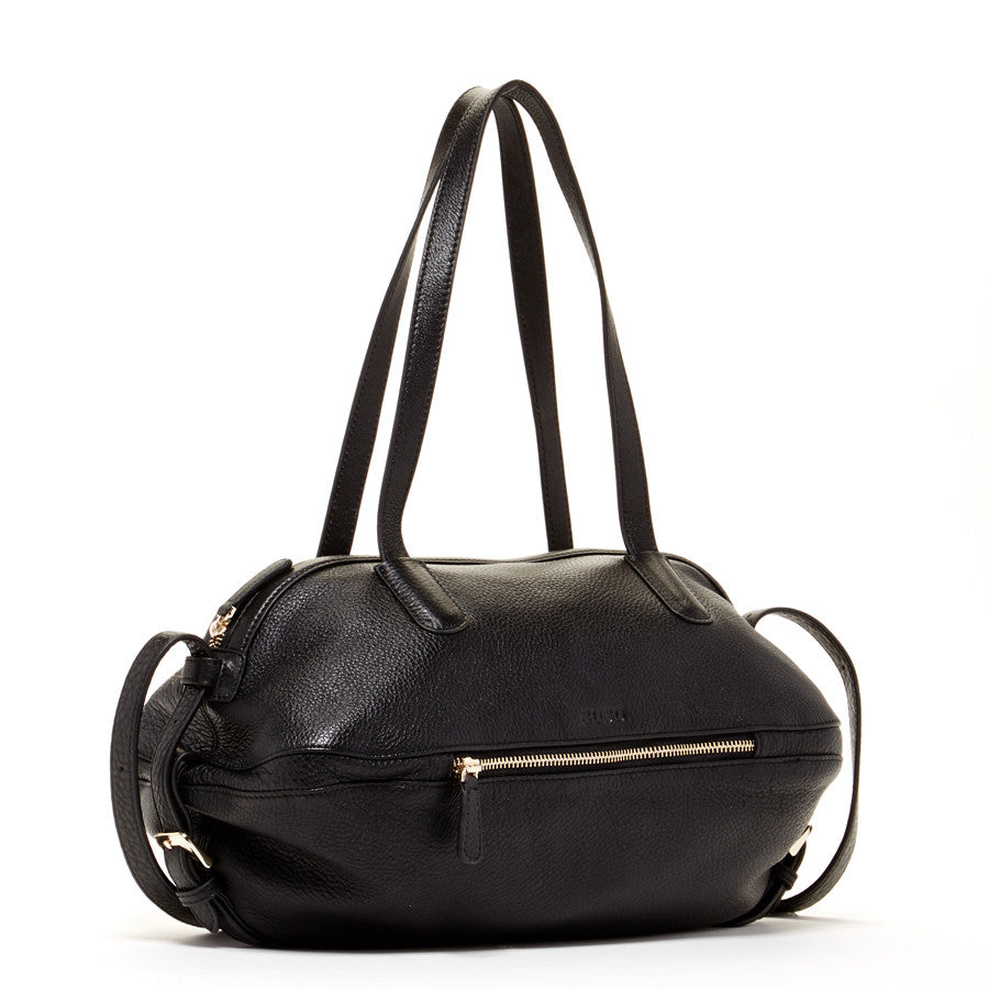 Black Leather Designer Satchel